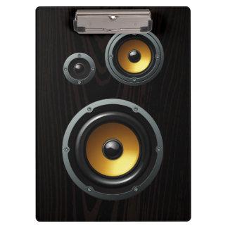 Fashionable Retro Wood Grain Speaker Trio Clipboards