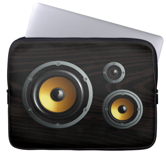 Fashionable Retro Wood Grain Speaker Trio Computer Sleeve