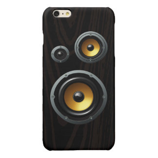 Fashionable Retro Wood Grain Speaker Trio Glossy iPhone 6 Plus Case