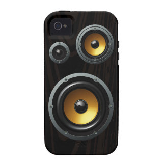 Fashionable Retro Wood Grain Speaker Trio iPhone 4/4S Case