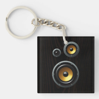 Fashionable Retro Wood Grain Speaker Trio Double-Sided Square Acrylic Keychain