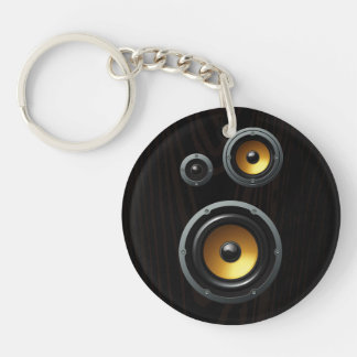 Fashionable Retro Wood Grain Speaker Trio Keychain