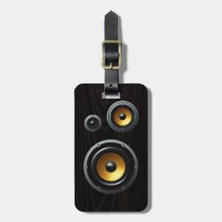 Fashionable Retro Wood Grain Speaker Trio Luggage Tag