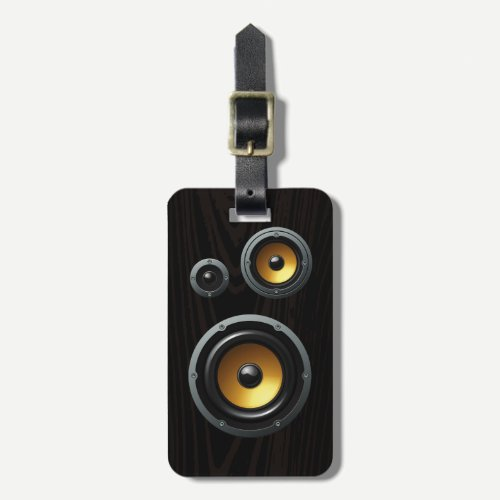Fashionable Retro Wood Grain Speaker Trio Luggage Tag