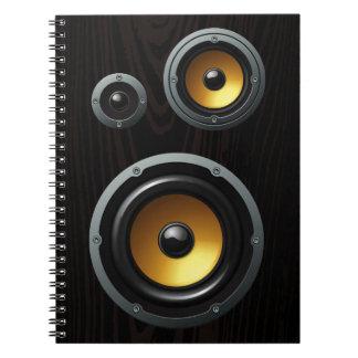 Fashionable Retro Wood Grain Speaker Trio Notebook