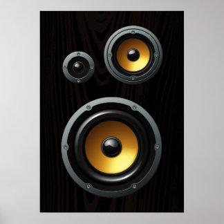 Fashionable Retro Wood Grain Speaker Trio Poster