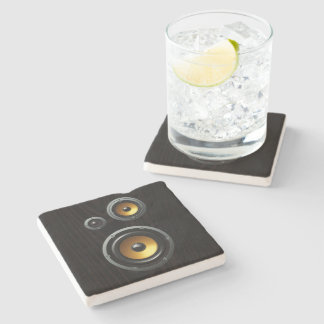 Fashionable Retro Wood Grain Speaker Trio Stone Coaster