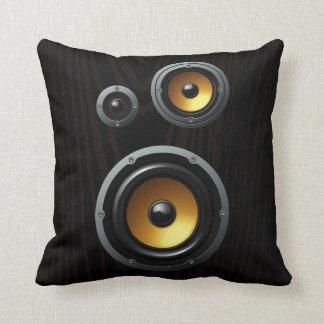 Fashionable Retro Wood Grain Speaker Trio Throw Pillow