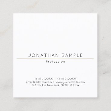 Fashionable Sleek Square Design Gold Plain Luxury Square Business Card