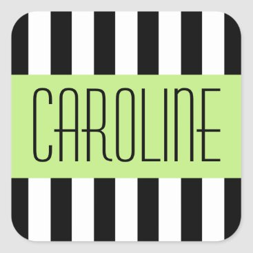 Beach Themed Fashionable stripes green panel personalized name square sticker