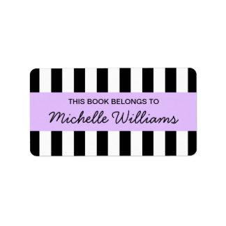 Fashionable stripes purple panel bookplates