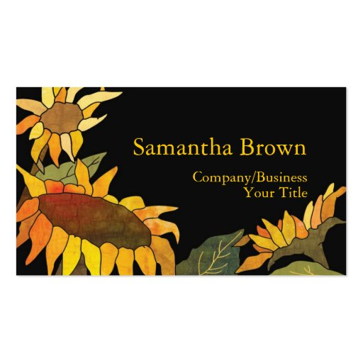 Fashionable Sunflowers Professional Business Cards Standard Business Cards