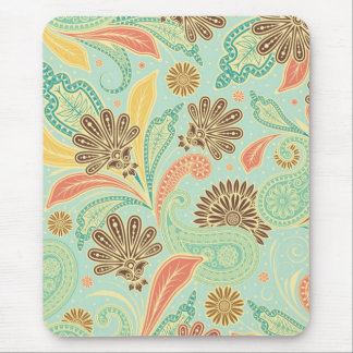Fashionable trendy girly vintage floral Paisleys Mouse Pad