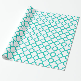 Fashionable Turquoise White Quatrefoil Pattern Wrapping Paper