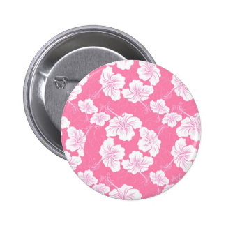 Fashionable White Floral on Baby Pink Pinback Buttons