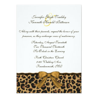 Fashionable Wild Jaguar Pattern Wedding Invitation