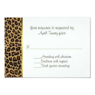 Fashionable Wild Jaguar Pattern Wedding RSVP Card Custom Invitations