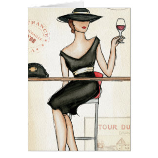 Fashionable Woman and Wine Glass Card