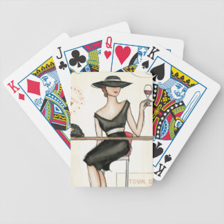 Fashionable Woman and Wine Glass Bicycle Card Deck