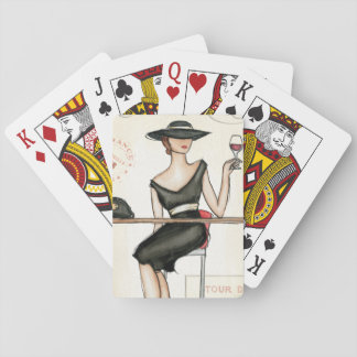 Fashionable Woman and Wine Glass Poker Deck