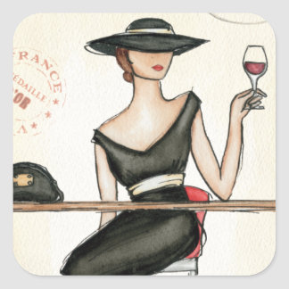 Fashionable Woman and Wine Glass Square Sticker