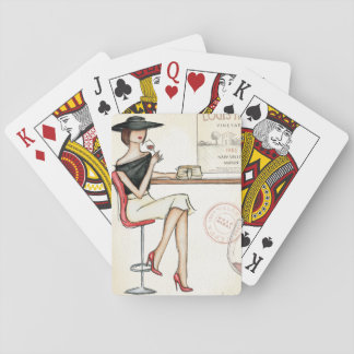 Fashionable Woman Drinking Wine Playing Cards