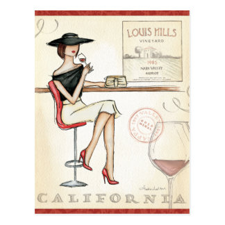 Fashionable Woman Drinking Wine Postcard