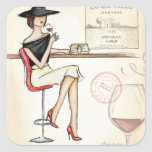Fashionable Woman Drinking Wine Square Sticker