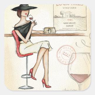 Fashionable Woman Drinking Wine Square Sticker