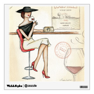 Fashionable Woman Drinking Wine Wall Decal