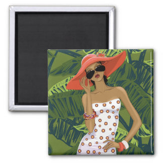 Fashionable Woman in Sundress and Red Hat Magnet