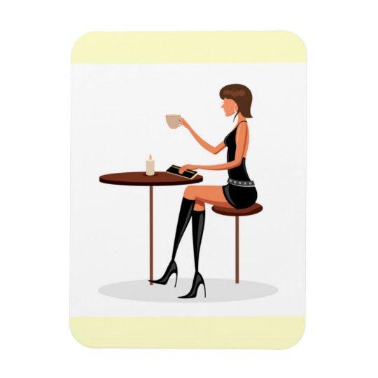 FASHIONABLE WOMAN PARIS COFFEE CAFE BLACK LEATHER MAGNET