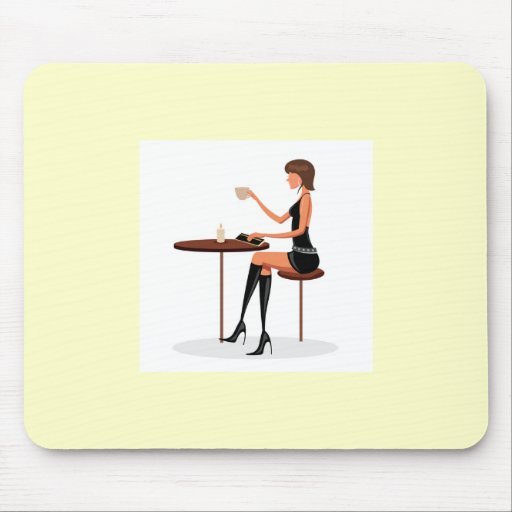 FASHIONABLE WOMAN PARIS COFFEE CAFE BLACK LEATHER MOUSEPAD