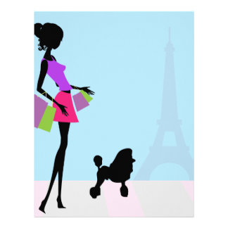 Fashionable Woman Shopping in Paris with a Poodle Letterhead
