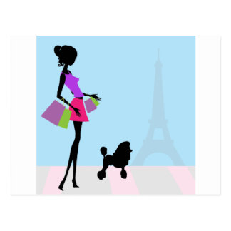 Fashionable Woman Shopping in Paris with a Poodle Postcard