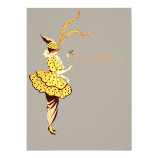 Fashionable Woman - Vintage Fashion Illustration Card