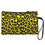 Fashionable yellow and orange leopard print patter wristlet purse
