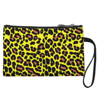 Fashionable yellow and orange leopard print patter wristlet purse