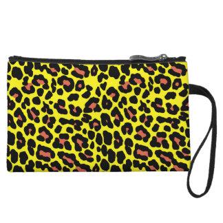Fashionable yellow and orange leopard print patter wristlet wallet