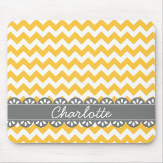 Fashionable Yellow Chevron and Grey Lace Mouse Pad