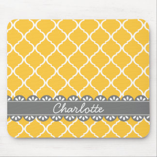 Fashionable Yellow Moroccan Lattice and Grey Lace Mouse Pad