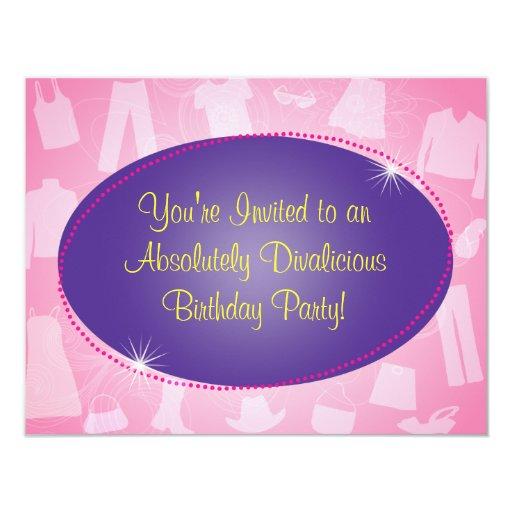 "Fashionista Birthday Party Invitation 4.25"" X 5.5"" Invitation Card"