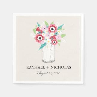 Fashionista Bloom Mason Jar   Wedding Paper Napkin