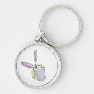 fashionista bunny Silver-Colored round keychain