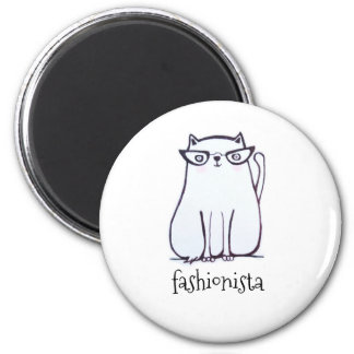 fashionista cat magnet