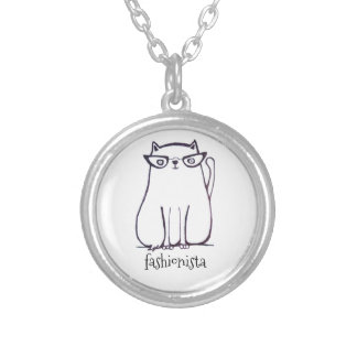 fashionista cat silver plated necklace