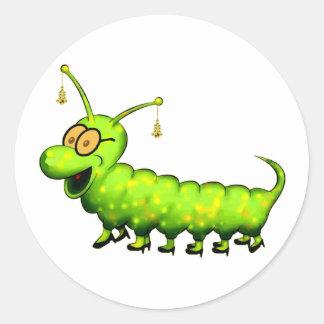 Fashionista Caterpillar Etiquetas Redondas