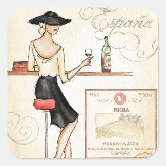 Fashionista del vino pegatina cuadrada