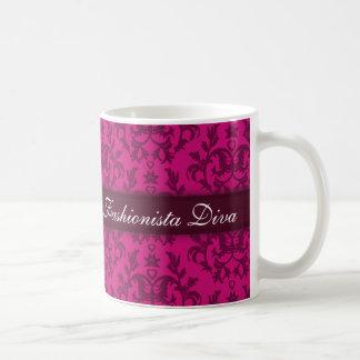 """Fashionista Diva"" damask rick pink girls mug"
