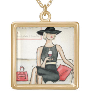 Fashionista Drinking Wine Gold Plated Necklace